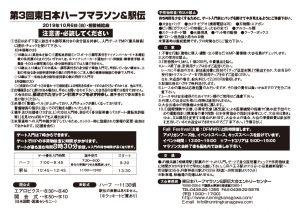 第3回東日本ハーフマラソン&駅伝注意書